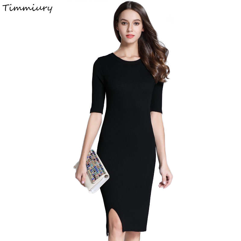 Timmiury New Auutmn Knitted Women Office Dress Solid Half Sleeves O-neck Party Dresses White/Black Knee-Length 2017 Sexy Dress