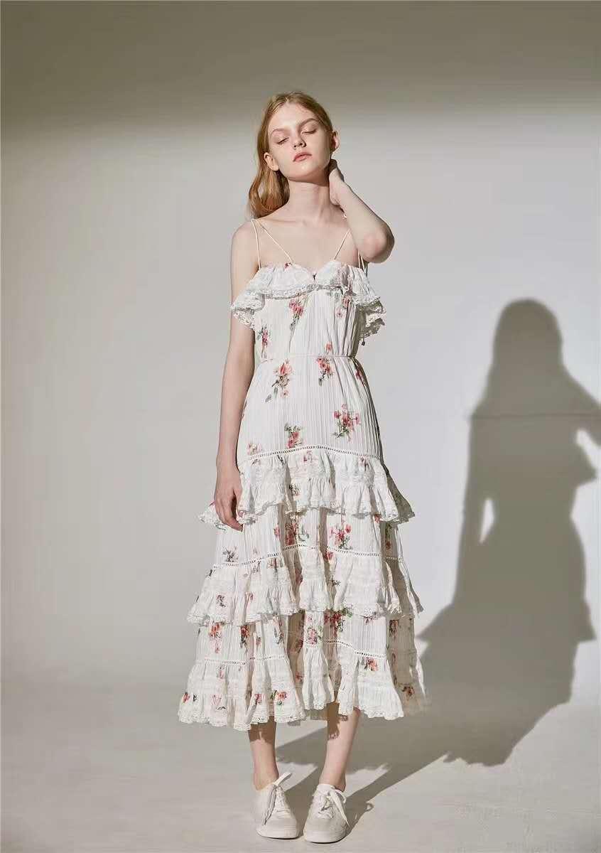 2019 New Arrival Summer Elegant Printed Spaghetti Strap Long Dress Holiday Dress Women s Dress 190423MLD01