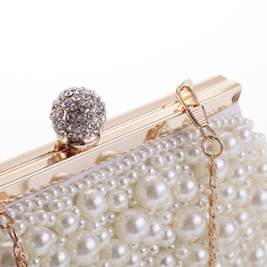Image 5 - Abend Hochzeit Kupplung Handtasche Perle Tasche Kleid Abendessen Tasche Kleine Geldbörse Brautjungfer Handtasche Weiß