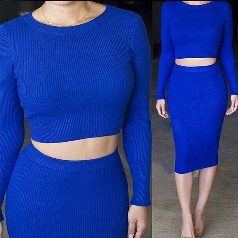 2 piece set women Long Sleeve crop top and skirt set Mid-length Hip-wrapped Skirt Tracksuits TC97501010005