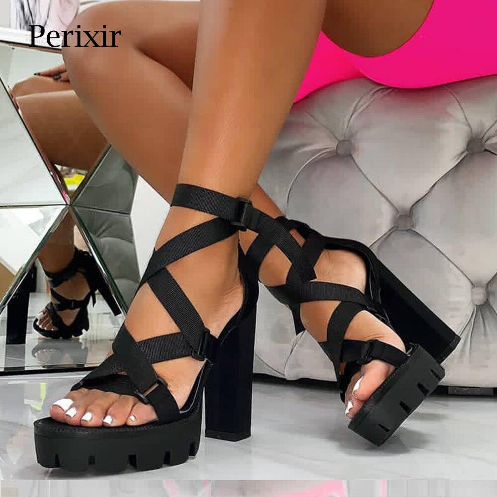 Perixir Women Sandals high heel Shoes block heel Sandals Ankle Strap Square heel Club night Sandals