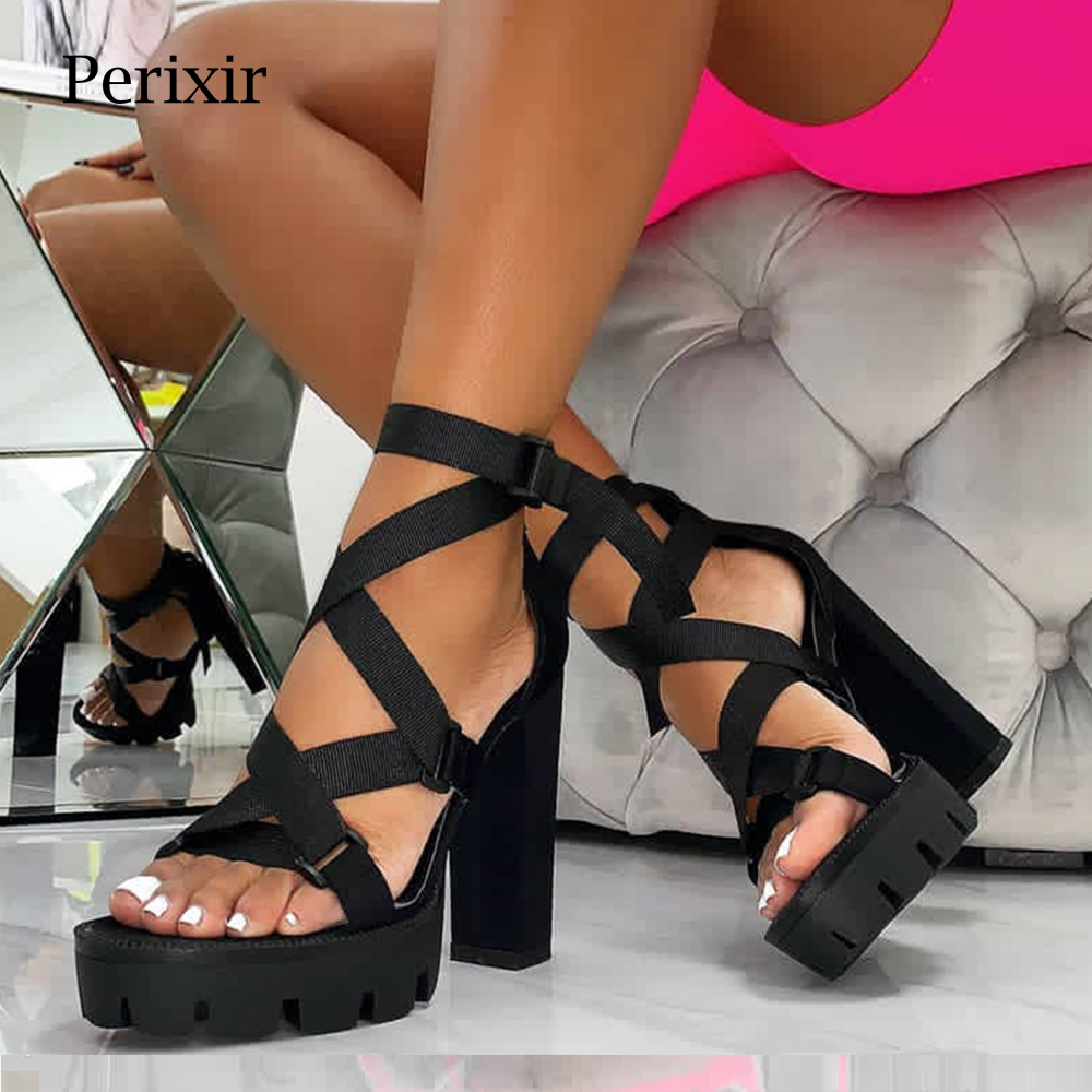 Perixir Women Sandals high heel Shoes block heel Sandals Ankle Strap Square heel Club night Sandals Summer Fashion Lady Sandals