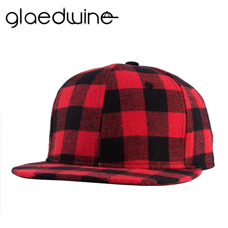 Glaedwine Newest Black Red Plaid Canvas Cotton Adjustable Snapback Caps For  Men Women Sports Hats Basketball Baseball Caps 4358ed3b2a17