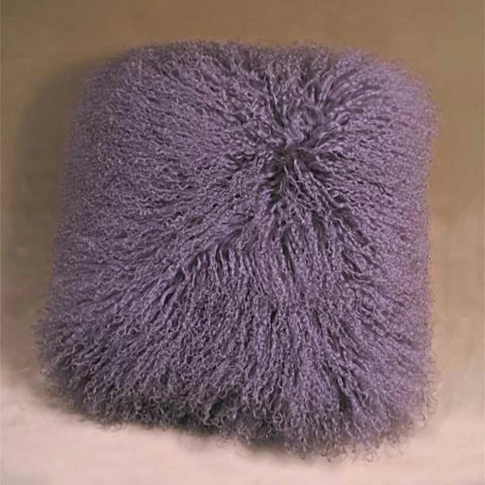 Dark Purple Mongolian Lamb Fur Pillow Cover Tibetan Fur Cushion Cover  Cushion Covers Almofadas Decorative Pillows
