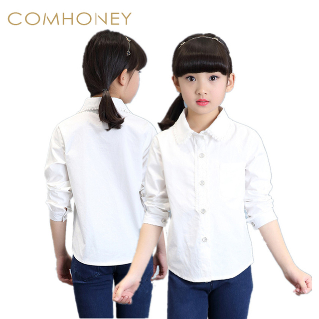 b583b978 Blouses For Girls Baby Girls White School Blouse 100% Cotton Lace Long  Sleeve Shirts Spring&Autumn Fashion Shirts For Teens