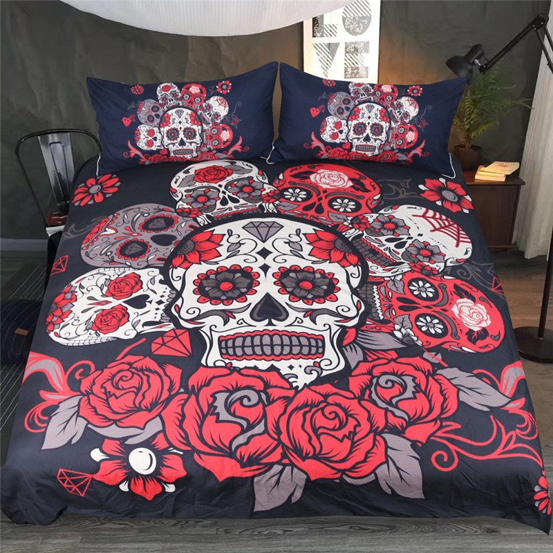 Fanaijia Digital Printing 3d skull Bedding Sets Flowers sugar skull duvet cover with pillowcase king Bed