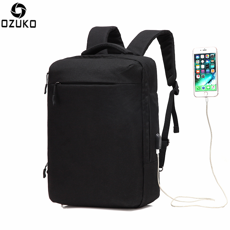 Ozuko Multi-functional Men Backpack Waterproof USB Charge Computer Backpacks 15Inch Laptop Bag Creative Student School Bags 2017 13 laptop backpack bag school travel national style waterproof canvas computer backpacks bags unique 13 15 women retro bags