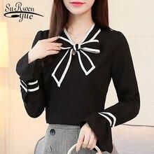 Женская блузка размера плюс 3XL, осенние модные женские блузки 2020 с длинными рукавами, однотонная белая черная рубашка, женская блузка 1040 40Блузки    АлиЭкспресс