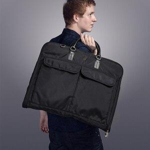 Image 5 - BAGSMART Waterproof Black Nylon Garment Bag With Handle Lightweight Suit Bag Business Men Travel Bags For Suits