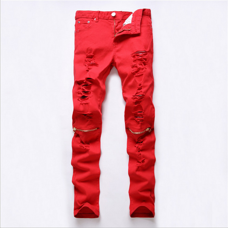 2016 New Fashion Designers Mens Ripped Pencil Stretch Jeans Boot Cut Slim Fit Skinny Biker Jeans Pants Famous Brand Red & Black thin stretch jeans ripped denim trousers slim skinny black jeans men new famous brand biker jeans elastic mens jeans l702