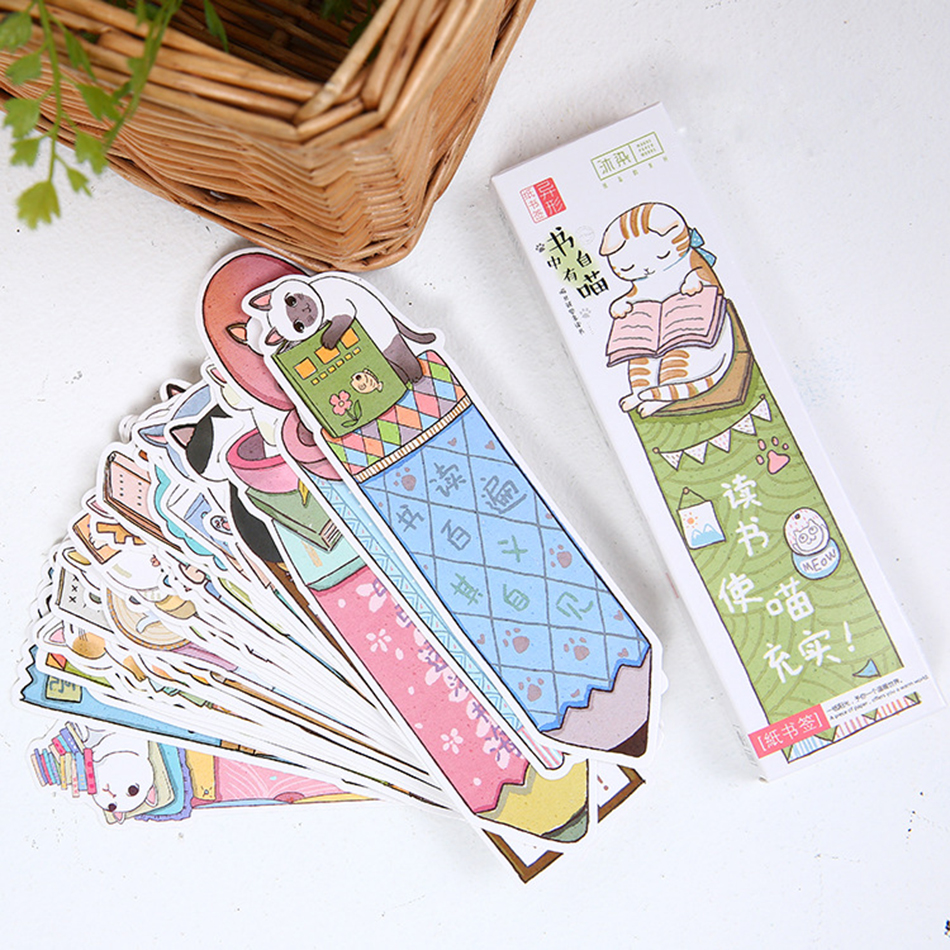 30 Pcs/Pack Cat In Book Bookmark Paper Cartoon Animals Bookmark Promotional Gift Stationery Film Bookmark
