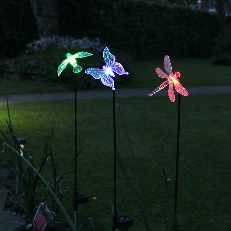 Landscape Lightin Outdoor Solar Powered LED Lawn Light Bird Butterfly Dragonfly RGB Color Changing Garden Yard Patio Decoration in Outdoor Landscape Lighting from Lights Lighting