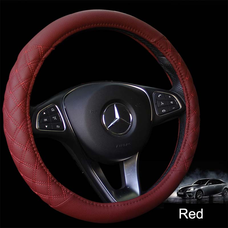 Red Wine Series Luxurycar Steering Wheel Cover Pu Leather 38cm Cheap