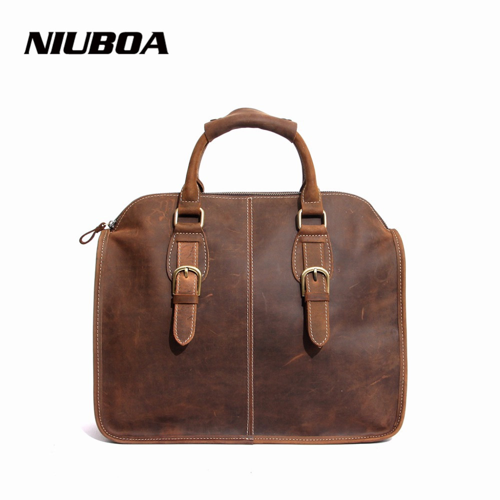 ФОТО NIUBOA Vintage Leather Shoulder Bags 100% Genuine Leather Handbag Tote Women Cowhide Handbags Crazy Horse Leather Messenger Bag