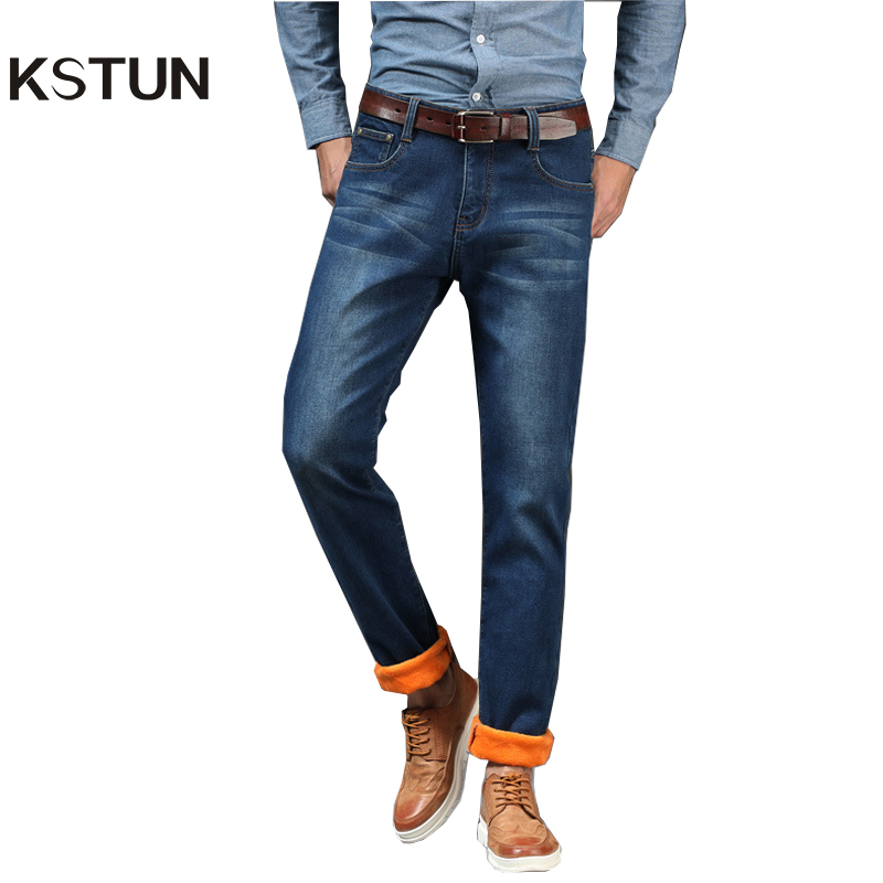 KSTUN Winter Jeans Men Straight Fit Thicken Stretch Blue Soft Warm Denim Pants Business Casual High Quality Plus Velvet Jeans