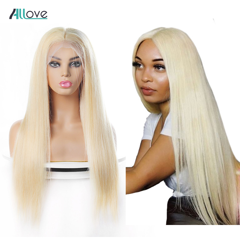 Brazilian Straight Lace Front Human Hair Wigs Pre Plucked 10 28inch Allove 13X4 613 Blonde Lace