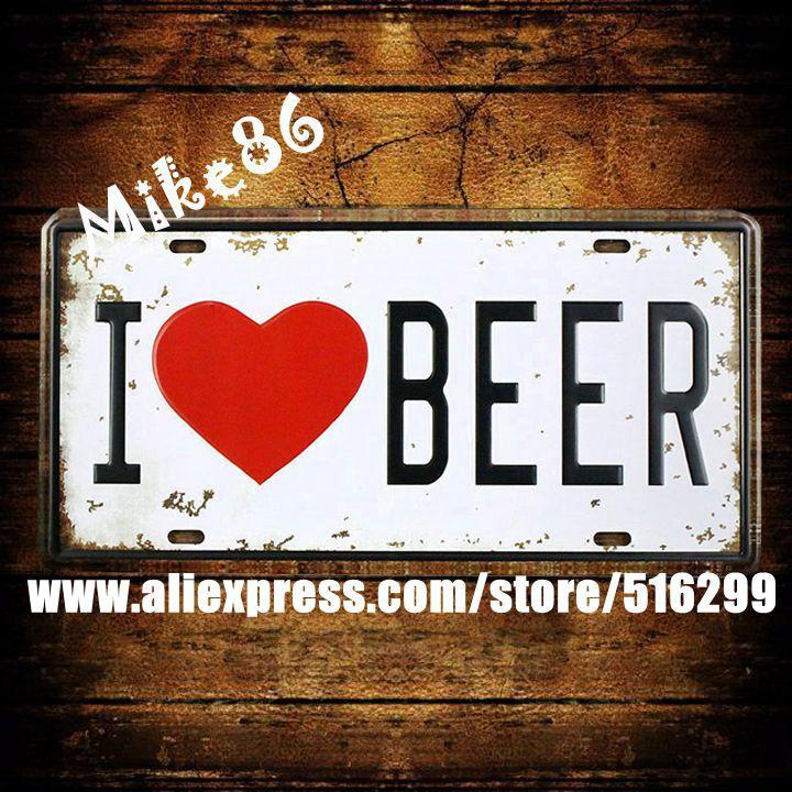 [Mike86] Я люблю пиво номерные знаки Винтаж Паб декор бар металлические знаки D-234 смешанный заказ 30*15 см