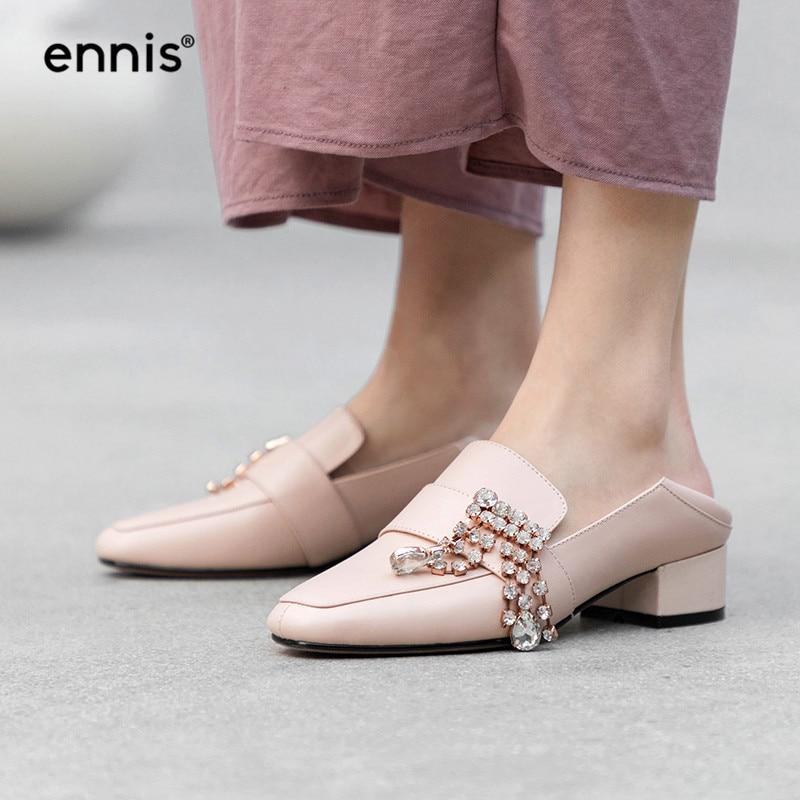 Ennis Casual Med Talon Strass Nouveau pink White P918 Noir Cuir Véritable Cristal En Chaussures Blanc Rose black Pompes Belle Pompe 2019 Printemps XIrnZX