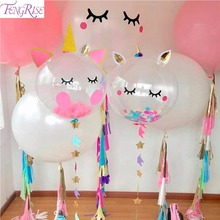 FENGRISE Pink Unicorn Party Balloon Cake Topper Baloon Birthday Ballon Kids Baby Shower Decorations
