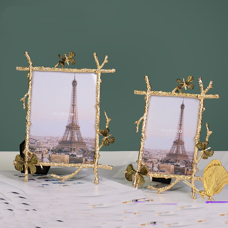 European exquisite golden metal imitation branches photo frame Brief rustic home office photo holder decoration
