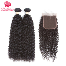 Beau hair 8A Pre-colored Brazilian Human Hair Kinky Curly 2 Bundles With Closure Non Remy Hair Extensions With 4*4 Lace Closure