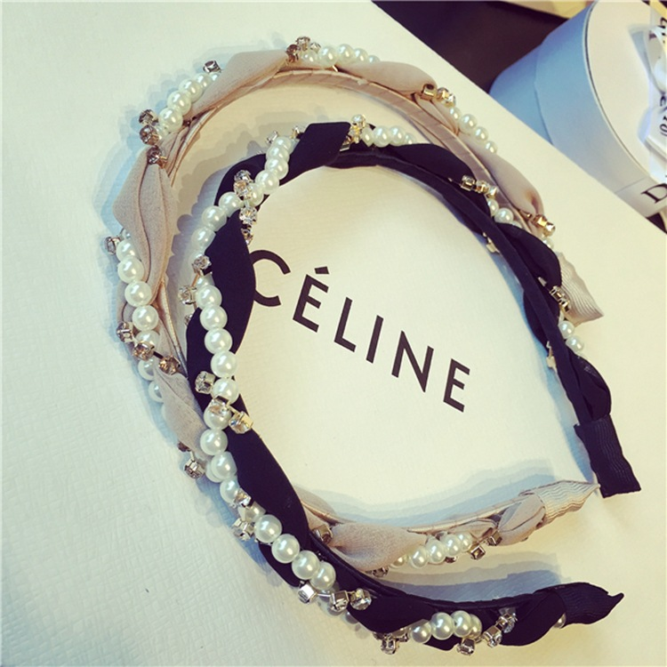 Luxurious Pearls Rhinestone Hair Hoop Headband  2