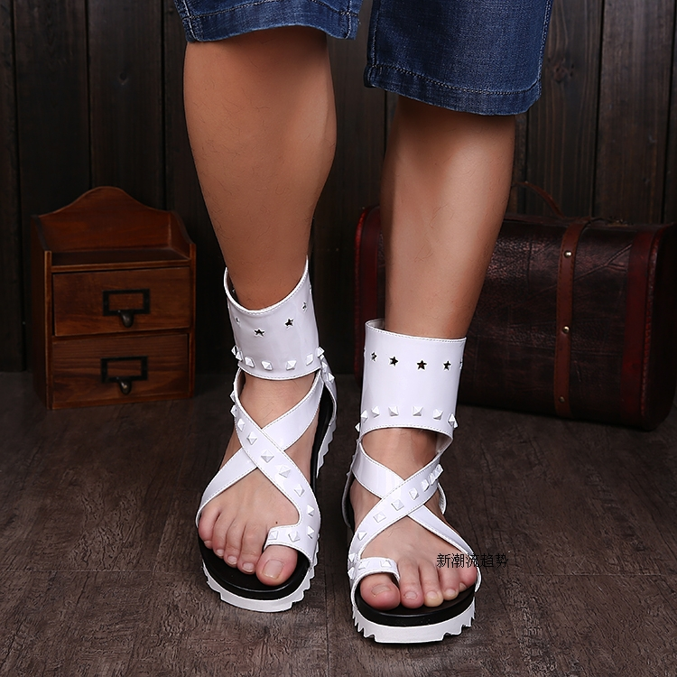 Summer Shoes Sandals Increasing Ankle-Boots New White Thong Rivets Cut-Outs Men Hombre