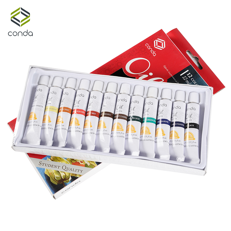 CONDA Water-resistant 12 Colors 12ML Tube Acrylic Paint set color Nail Glass Paint Art Painting for fabric Drawing Tools DIY цена