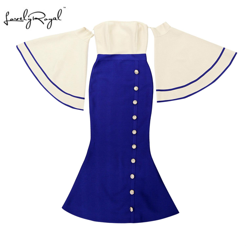 LoveyRoyal 2018 automne robe dîner fête Costume femme Bandage robe femmes Bandage robe Sexy haut-parleur manches grande taille vadim
