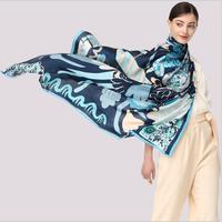 Equtife 140*140cm Oversize Square Silk Scarf Luxury Brand 100% Silk Shawls Women Pashmina Elegant Coloured Scarves Neckerchief
