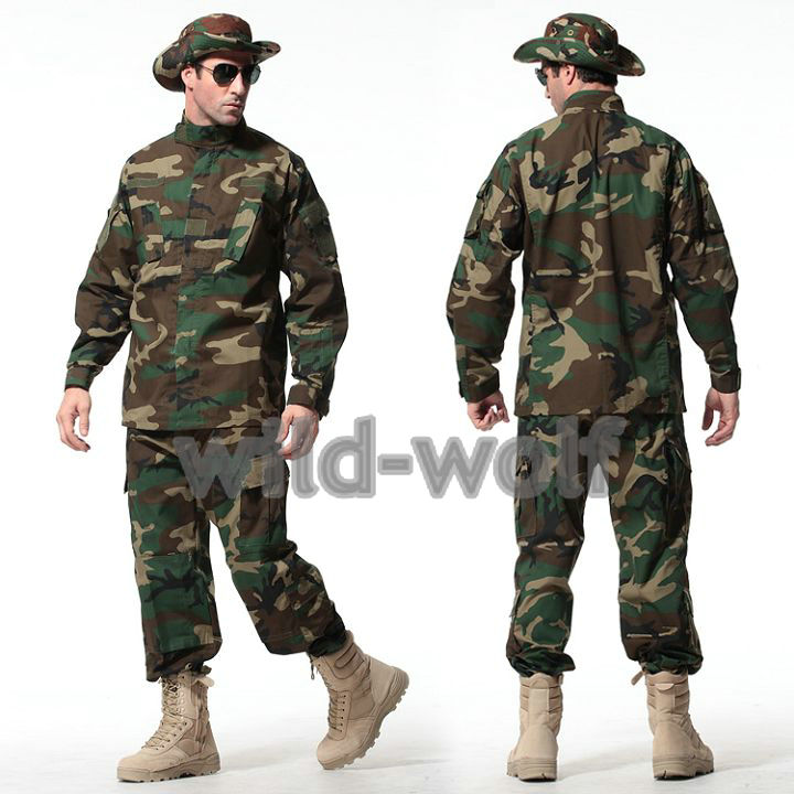 Army Military Jacket Military Field Camouflage Camo  Combat Airsoft Uniform Suit Sets Woodland Camouflage
