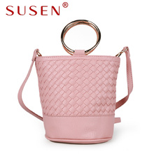 SUSEN 1277 mini knitting bucket shoulder bags women crossbody bags PU leather handbags