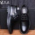 Flats de Couro dos homens Da Marca Sapatos Casuais 2016 New Outono Inverno Deslizamento Em sapatos Da Moda Sapatos Único Zapatos Hombre Souliers L082620