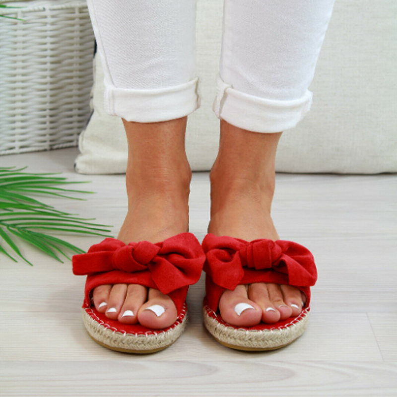 RED Sexy Summer Sandals Bow Knot Women Slippers Open Toe Ladies Outdoor Beach Flip Flops