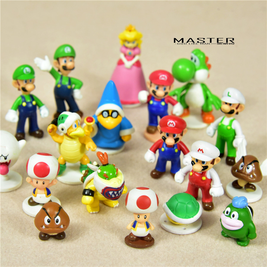15pieces a lot  mixed design 3-5cm anime Super Mario Bros PVC Action figure toys Adorable Collectible Model For Children Gift
