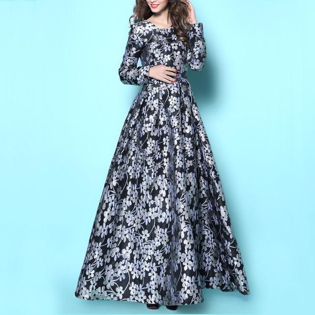 Long sleeve silver maxi dress