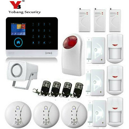 YoBang Security Touch Keypad WiFi GSM GPRS Alarm Home Alarm Security Alarm System Android IOS Application Smoke Fire Sensor.