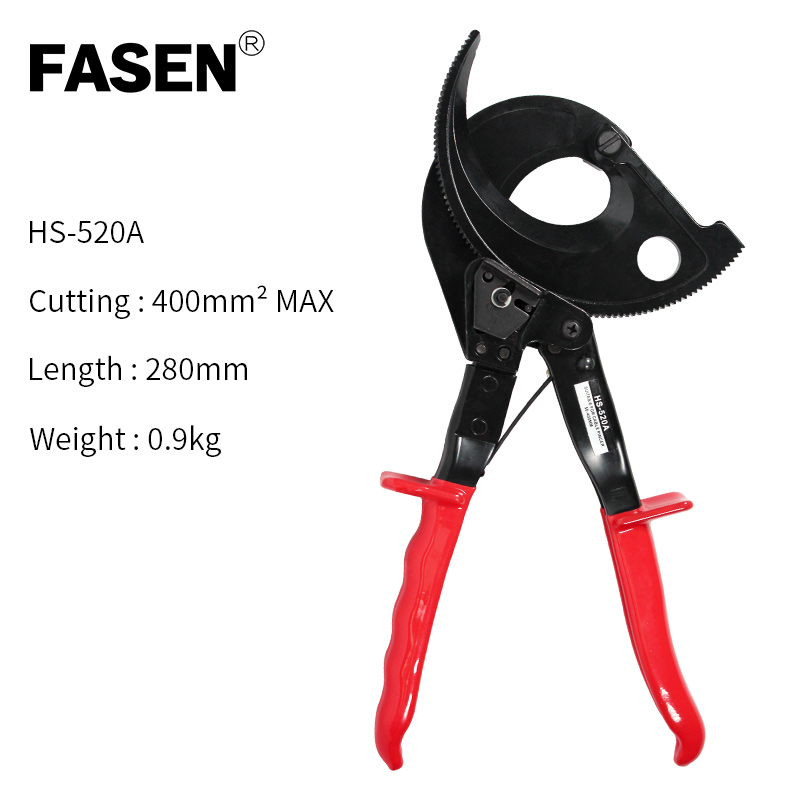 HS-520A Ratchet Electrical Cable Wire Cutter Cut up to 400mm2 Ratcheting Cutting Hand Tool