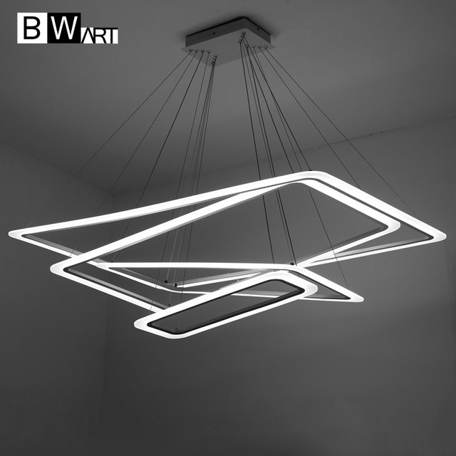 BWART Modern LED chandelier Luxury Living Room led lamp Large Rectangular frames Hanging Lighting Fixtures Chandeliers lustre