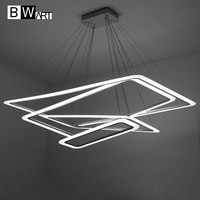 BWART Modern LED Chandelier Luxury Living Room Led Lamp Large Rectangular Frames Hanging Lighting Fixtures Chandeliers