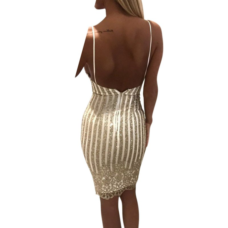 Sexy Party Night sequin summer dress Women V-neck elegant vintage dresses Shinning Gold sequined Flower Lace Dress    1