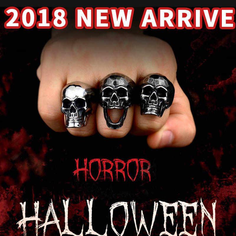 เหล็กทหาร dropshipping 2018 punk rock skull แหวนผู้ชายที่ไม่ซ้ำกัน cool สแตนเลสเครื่องประดับ charms