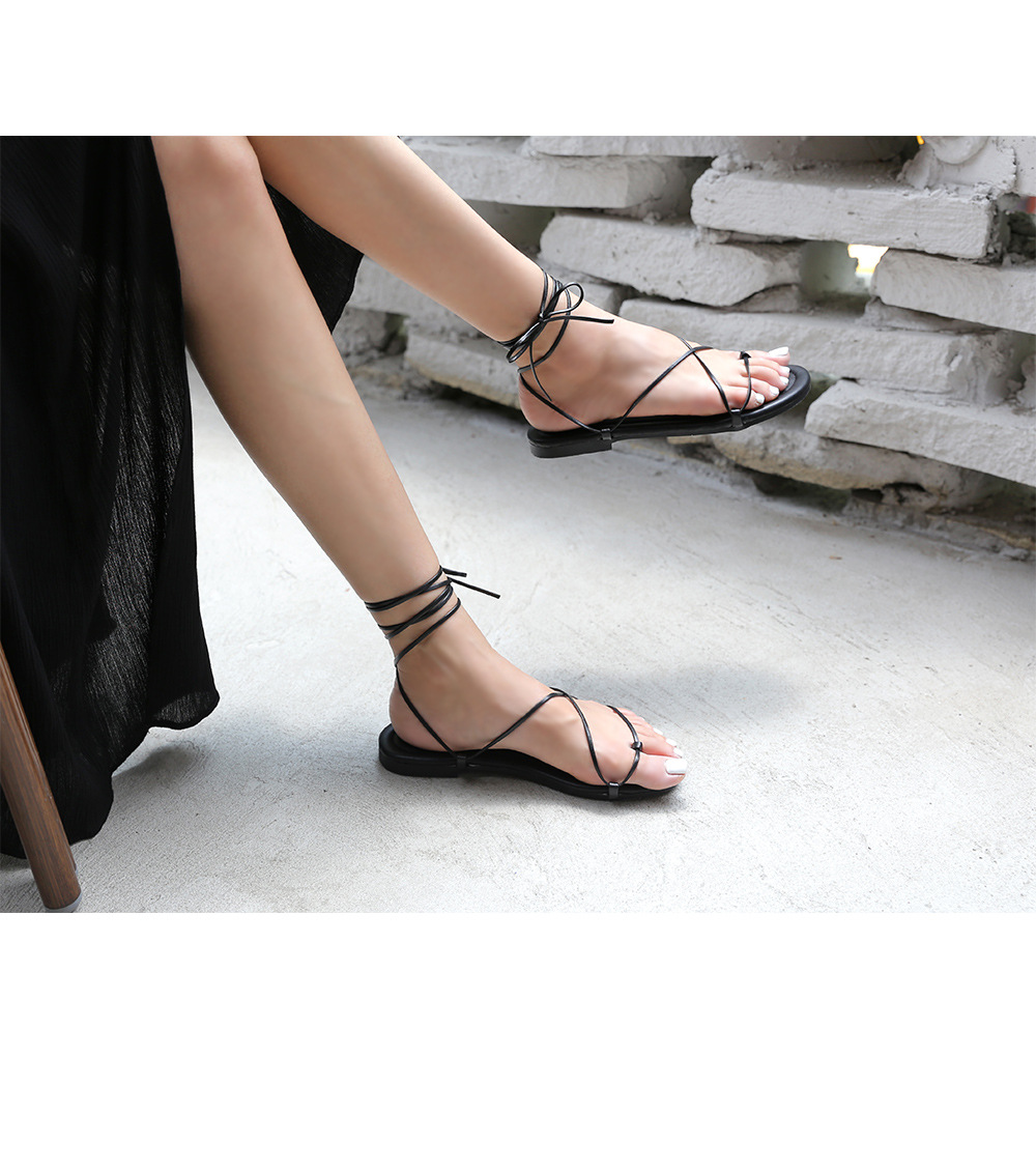 Summer Women Sandals Lace Up Flats New Fashion Shoes For Women Casual Rome Style Sandalias Gladiator Femme Sandals Cross Tied in Women 39 s Sandals from Shoes