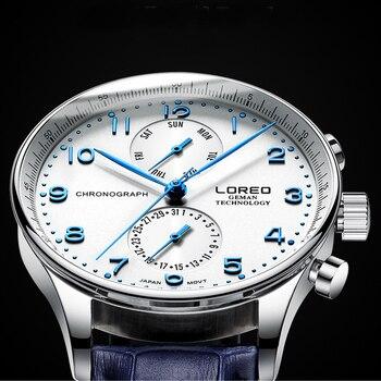 Мужские часы LOREO Топ бренд класса люкс кожа Бизнес Кварцевые мужские повседневные 50 м водонепроницаемые спортивные часы Relogio Masculino
