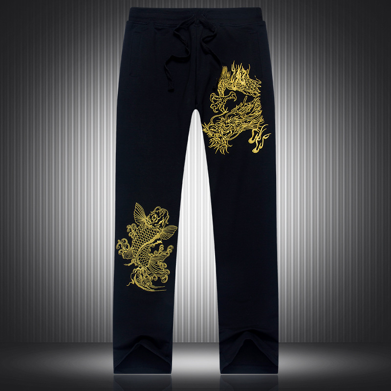China 's wind men black slacks Loose big yards arowana move pattern embroidery pants Trousers tide