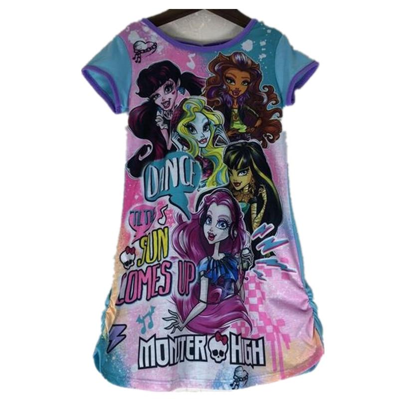 2017 Summer Monster Ella Princess Dress Kids Party Dress Girls Ever After High Monster Dress Girl Costume Pajamas Clothing monster high кукла эшлин элла день коронации ever after high