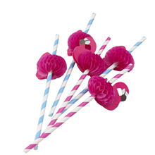 125 шт/партия розовые бумажные соломинки с Фламинго украшения для коктейлей соломинки для Гавайских дней рождения джентльмена леди KidsParty
