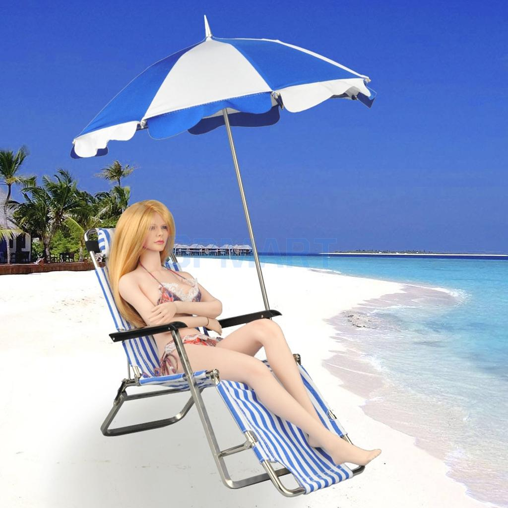 1/6 Scale Foldable Beach Chair & Sunshade Umbrella with Base for 12'' Action Figure Hot Toys Phicen Kumik Model Toys kumik 1 6 scale war brown horse model ac 10 fit for 12 soldier zc ttl phicen action figure doll toys