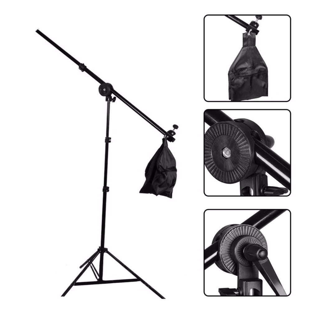 Studio Photo Telescopic Boom Arm Top Light Photography Slope Cross Arm Bar With Weight Balancer Sandbag with Support Stand ashanks photography 2 in 1 3m top light stand as boom arm stand large lamp holder kits for photo studio light softbox load 8kg