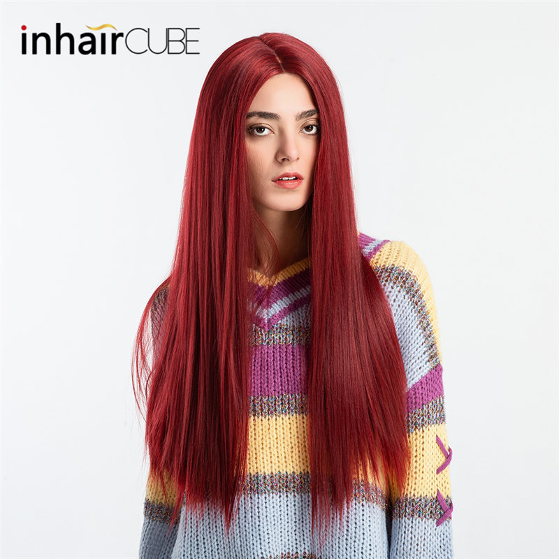 INHAIR CUBE 27 Inch Water Wave Front Lace Wig Long Hair Ombre Simulation Scalp Synthetic Wigs Middle Part Free Hairnet